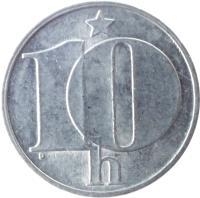 reverse of 10 Haléřů (1974 - 1990) coin with KM# 80 from Czechoslovakia. Inscription: 10 h