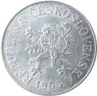 obverse of 10 Haléřů (1953 - 1958) coin with KM# 38 from Czechoslovakia. Inscription: REPUBLIKA ČESKOSLOVENSKÁ 1954