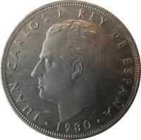 obverse of 100 Pesetas - Juan Carlos I - 1982 FIFA World Cup (1980) coin with KM# 820 from Spain. Inscription: JUAN CARLOS REY DE ESPAÑA · 1980 ·