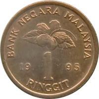reverse of 1 Ringgit - Yang di-Pertuan Agong (1993 - 1998) coin with KM# 64 from Malaysia. Inscription: BANK NEGARA MALAYSIA 19 1 95 RINGGIT