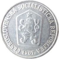 obverse of 10 Haléřů (1961 - 1971) coin with KM# 49 from Czechoslovakia. Inscription: ČESKOSLOVENSKÁ SOCIALISTICKÁ REPUBLIKA