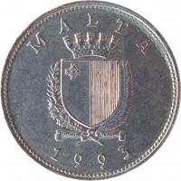 obverse of 25 Cents (1991 - 2007) coin with KM# 97 from Malta. Inscription: MALTA REPUBLIKA TA'MALTA 1993