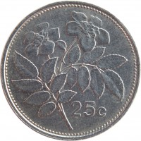 reverse of 25 Cents (1991 - 2007) coin with KM# 97 from Malta. Inscription: 25 c