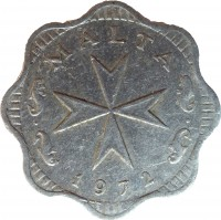 obverse of 2 Mils (1972 - 2007) coin with KM# 5 from Malta. Inscription: MALTA 1972