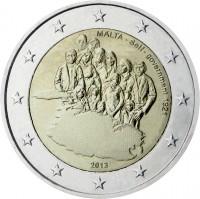 obverse of 2 Euro - Self-government (2013) coin with KM# 149 from Malta. Inscription: MALTA - Self-government 1921 2013
