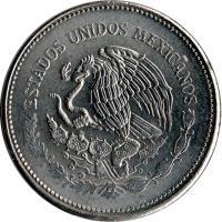 obverse of 10 Pesos (1985 - 1990) coin with KM# 512 from Mexico. Inscription: ESTADOS UNIDOS MEXICANOS