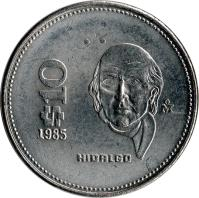 reverse of 10 Pesos (1985 - 1990) coin with KM# 512 from Mexico. Inscription: $10 1987 HIDALGO M