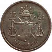 reverse of 25 Centavos (1950 - 1953) coin with KM# 443 from Mexico. Inscription: 25 Cs. LIBERTAD LEY Mo · 1950