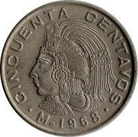 reverse of 50 Centavos (1964 - 1969) coin with KM# 451 from Mexico. Inscription: CINCUENTA CENTAVOS Mo 1968