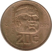 reverse of 20 Centavos (1983 - 1984) coin with KM# 491 from Mexico. Inscription: cultura olmeca 1984 20 ¢