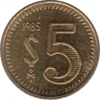 reverse of 5 Pesos (1985 - 1988) coin with KM# 502 from Mexico. Inscription: 1985 $5