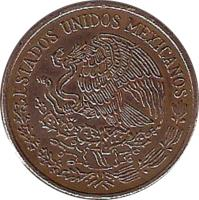 obverse of 20 Centavos - Type 3 National Emblem (1971 - 1974) coin with KM# 441 from Mexico. Inscription: ESTADOS UNIDOS MEXICANOS
