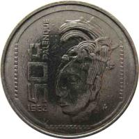 reverse of 50 Centavos (1983) coin with KM# 492 from Mexico. Inscription: 50 c 1983 PALENQUE