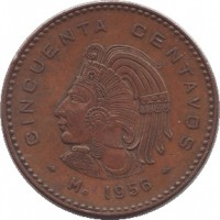 reverse of 50 Centavos (1955 - 1959) coin with KM# 450 from Mexico. Inscription: CINCUENTA CENTAVOS Mo 1956
