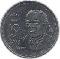 reverse of 50 Pesos (1988 - 1992) coin with KM# 495a from Mexico. Inscription: $50 ⠑⠚ 1988 JUAREZ Mo