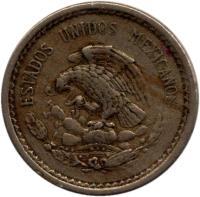 obverse of 5 Centavos (1936 - 1942) coin with KM# 423 from Mexico. Inscription: ESTADOS UNIDOS MEXICANOS