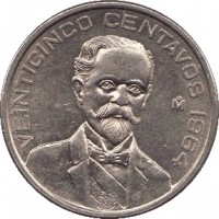 reverse of 25 Centavos (1964 - 1966) coin with KM# 444 from Mexico. Inscription: VEINTICINCO CENTAVOS 1964