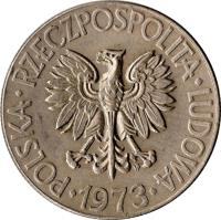 obverse of 10 Złotych - Smaller (1969 - 1973) coin with Y# 50a from Poland. Inscription: POLSKA · RZECZPOSPOLITA · LUDOWA · 1989 ·