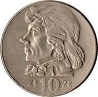 reverse of 10 Złotych - Smaller (1969 - 1973) coin with Y# 50a from Poland. Inscription: ZŁ 10 ZŁ