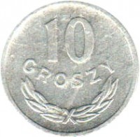 reverse of 10 Groszy (1949) coin with Y# 42a from Poland. Inscription: 10 GROSZY