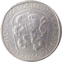 obverse of 3 Koruny (1965 - 1969) coin with KM# 57 from Czechoslovakia. Inscription: ČESKOSLOVENSKÁ SOCIALISTICKÁ REPUBLIKA 1965