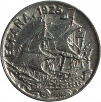 obverse of 25 Centimos - Caraba (1925) coin with KM# 740 from Spain. Inscription: ESPANA.1925