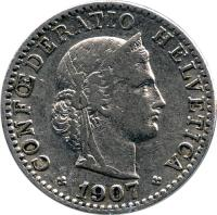 obverse of 20 Rappen (1881 - 1938) coin with KM# 29 from Switzerland. Inscription: CONFŒDERATIO HELVETICA LIBERTAS 1921