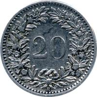 reverse of 20 Rappen (1881 - 1938) coin with KM# 29 from Switzerland. Inscription: 20 B