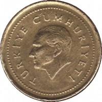 obverse of 5000 Lira (1995 - 2001) coin with KM# 1029 from Turkey. Inscription: TURKIYE CUMHURIYETI