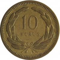 reverse of 10 Kuruş (1949 - 1956) coin with KM# 888 from Turkey. Inscription: 10 KURUŞ