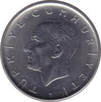 obverse of 1 Lira (1959 - 1980) coin with KM# 889a from Turkey. Inscription: TÜRKİYE CUMHURİYETİ