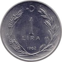 reverse of 1 Lira (1959 - 1980) coin with KM# 889a from Turkey. Inscription: 1 LIRA 1978