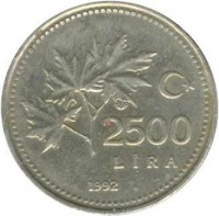 reverse of 2500 Lira (1991 - 1997) coin with KM# 1015 from Turkey. Inscription: 2500 LIRA 1992