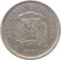 obverse of 10 Centavos (1983 - 1987) coin with KM# 60 from Dominican Republic. Inscription: REPUBLICA DOMINICANA 1984 DIOS PATRIA LIBERTAD REPUBLICA DOMINICANA
