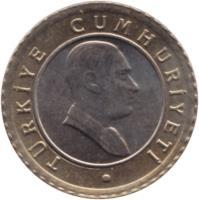 obverse of 50 Yeni Kuruş (2005 - 2008) coin with KM# 1168 from Turkey. Inscription: TÜRKİYE CUMHURİYETİ