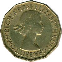 obverse of 3 Pence - Elizabeth II - With BRITT:OMN; 1'st Portrait (1953) coin with KM# 886 from United Kingdom. Inscription: + ELIZABETH II DEI GRA:BRITT:OMN:REGINA F:D:
