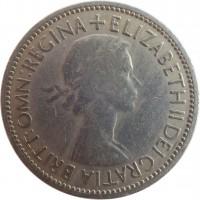 obverse of 2 Shillings - Elizabeth II - With BRITT:OMN; 1'st Portrait (1953) coin with KM# 892 from United Kingdom. Inscription: + ELIZABETH II DEI GRATIA BRITT:OMN:REGINA