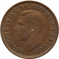 obverse of 1 Farthing - George VI - Without IND:IMP (1949 - 1952) coin with KM# 867 from United Kingdom. Inscription: GEORGIVS VI D:G:BR:OMN:REX FIDEI DEF.
