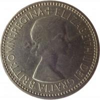 obverse of 1 Shilling - Elizabeth II - English crest; With BRITT:OMN; 1'st Portrait (1953) coin with KM# 890 from United Kingdom. Inscription: + ELIZABETH II DEI GRATIA BRITT:OMN:REGINA