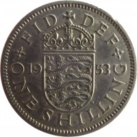 reverse of 1 Shilling - Elizabeth II - English crest; With BRITT:OMN; 1'st Portrait (1953) coin with KM# 890 from United Kingdom. Inscription: FID DEF 19 53 W G ONE SHILLING