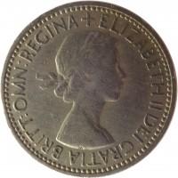 obverse of 1 Shilling - Elizabeth II - Scottish crest; With BRITT:OMN; 1'st Portrait (1953) coin with KM# 891 from United Kingdom. Inscription: + ELIZABETH II DEI GRATIA BRITT:OMN:REGINA