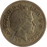 obverse of 1 Pound - Elizabeth II - Forth Bridge - 4'th Portrait (2004) coin with KM# 1048 from United Kingdom. Inscription: ELIZABETH · II · D · G REG · F · D · 2004 IRB