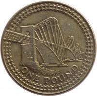 reverse of 1 Pound - Elizabeth II - Forth Bridge - 4'th Portrait (2004) coin with KM# 1048 from United Kingdom. Inscription: ONE POUND