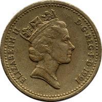 obverse of 1 Pound - Elizabeth II - Northern Irish Flax - 3'rd Portrait (1986 - 1991) coin with KM# 946 from United Kingdom. Inscription: ELIZABETH II D · G · REG · F · D · 1991 RDM