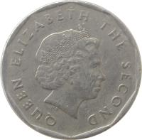obverse of 1 Dollar - Elizabeth II - Non magnetic; 4'th Portrait (2002 - 2007) coin with KM# 39 from Eastern Caribbean States. Inscription: QUEEN ELIZABETH THE SECOND
