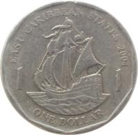 reverse of 1 Dollar - Elizabeth II - Non magnetic; 4'th Portrait (2002 - 2007) coin with KM# 39 from Eastern Caribbean States. Inscription: EAST CARIBBEAN STATES 2004 1 1 ONE DOLLAR