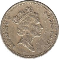 obverse of 1 Pound - Elizabeth II - Three Lions - 3'rd Portrait (1997) coin with KM# 975 from United Kingdom. Inscription: ELIZABETH II D · G · REG · F · D · 1997 RDM