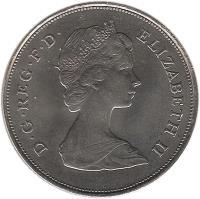 obverse of 25 New Pence - Elizabeth II - Charles - 2'nd Portrait (1981) coin with KM# 925 from United Kingdom. Inscription: D · G · REG · F · D · ELIZABETH II