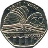 reverse of 50 Pence - Elizabeth II - Public Libraries - 4'th Portrait (2000) coin with KM# 1004 from United Kingdom. Inscription: · 1850 · 2000 · 50 PENCE · PUBLIC LIBRARIES · ®