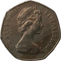 obverse of 50 Pence - Elizabeth II - 2'nd Portrait (1982 - 1984) coin with KM# 932 from United Kingdom. Inscription: D · G · REG · F · F · 1983 ELIZABETH · II